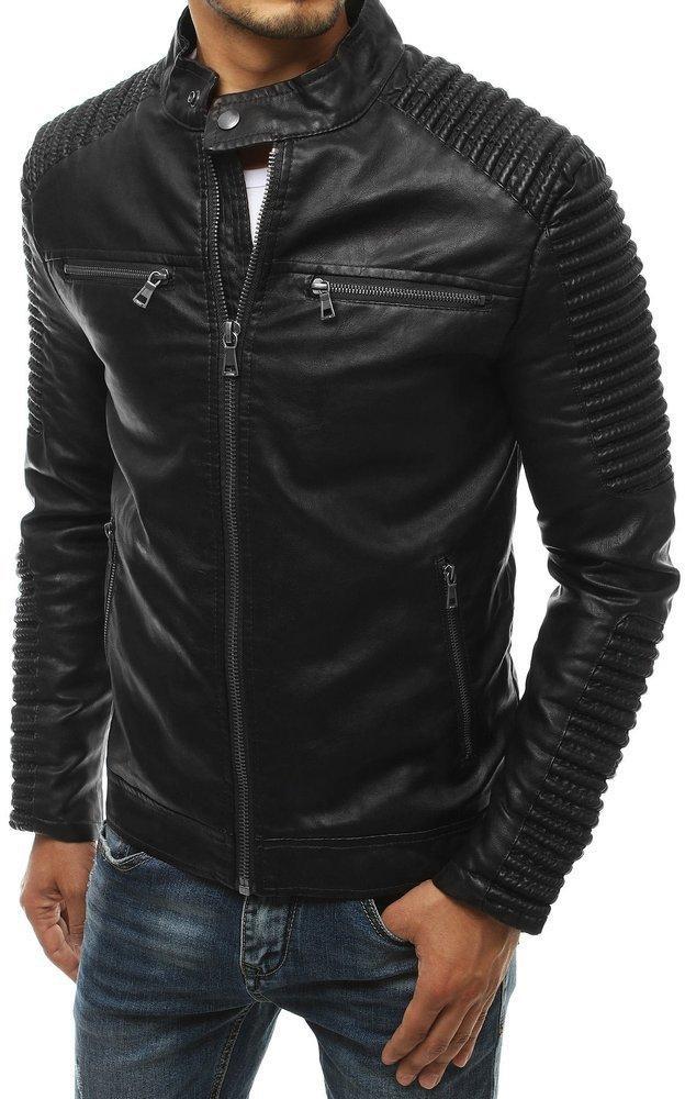 Čierna pánska kožená bunda TX3398, veľ. XXL - XXL