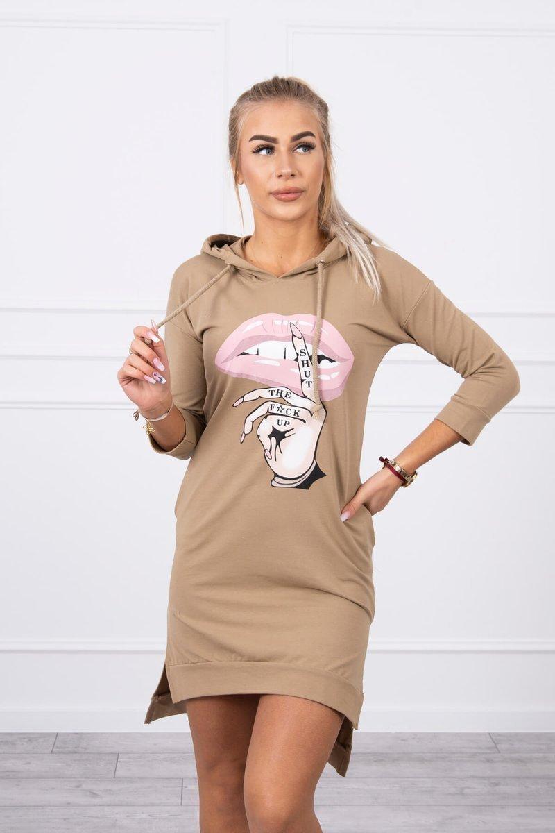 Dámska šaty s potlačou 64632 - kamelové - Uni