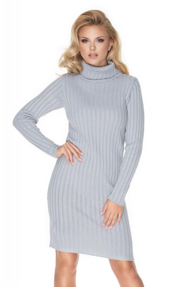 Dámske pletené šaty s rolákom 70026 - sivé, veľ. Uni - Uni