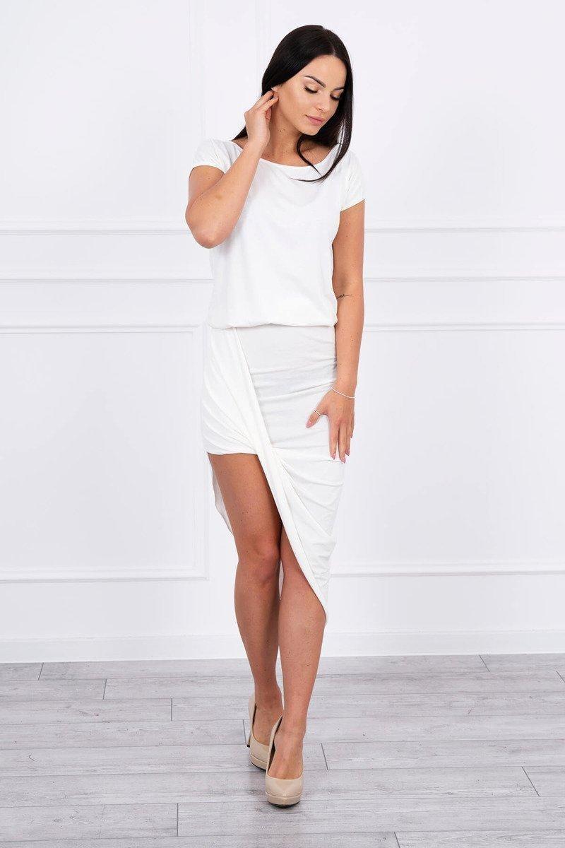 Asymetrické dámske šaty 61524 - ecru - Uni