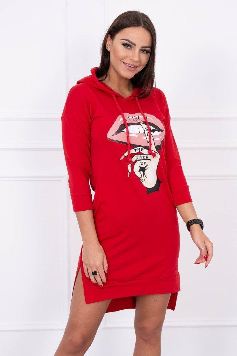 Dámska šaty s potlačou 64632 - červené - Uni