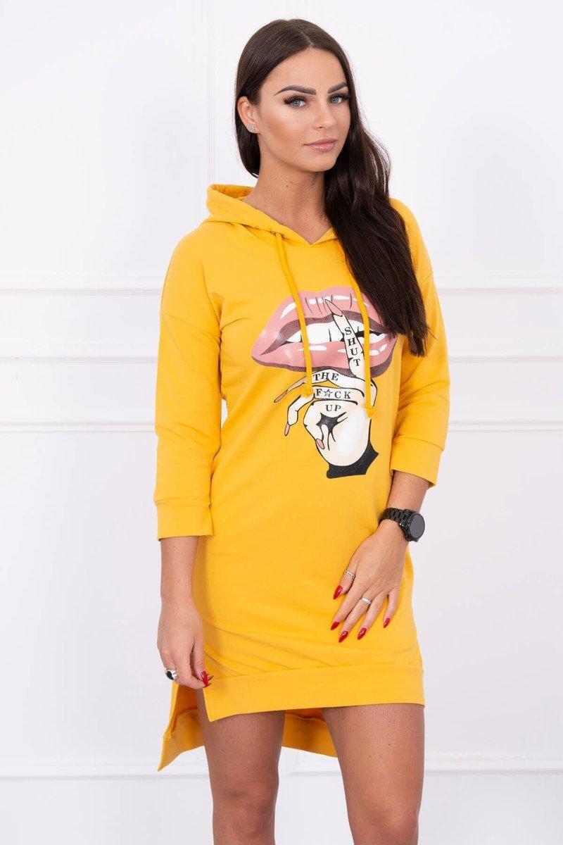 Dámska šaty s potlačou 64632 - horčicové - Uni