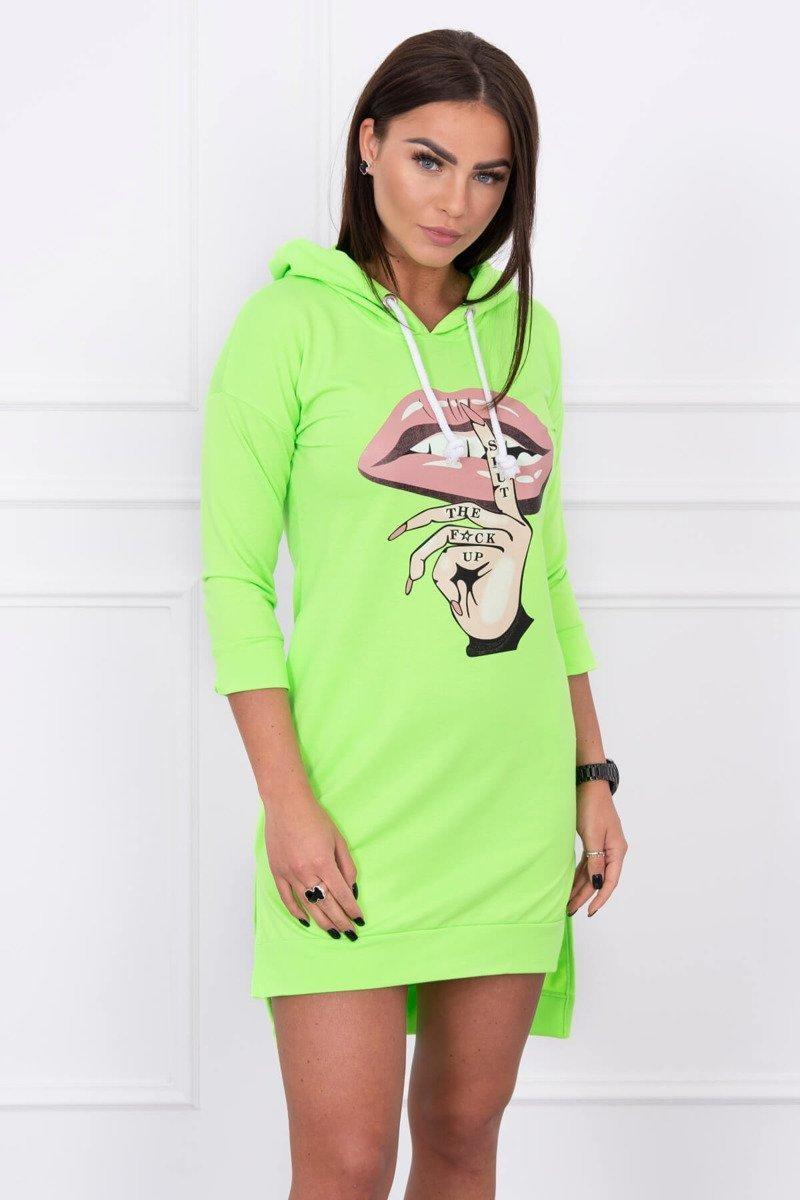 Dámska šaty s potlačou 64632 - neónovo zelené - Uni