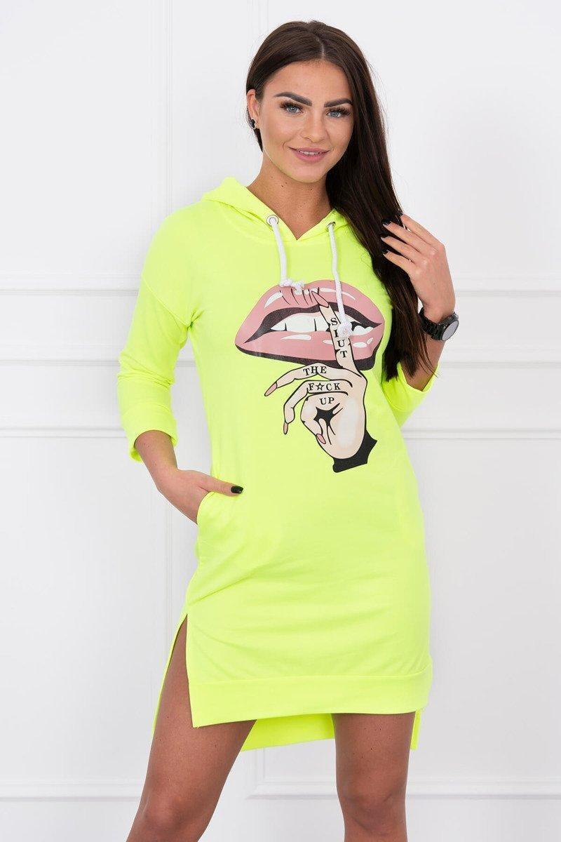 Dámska šaty s potlačou 64632 - neónovo žlté - Uni