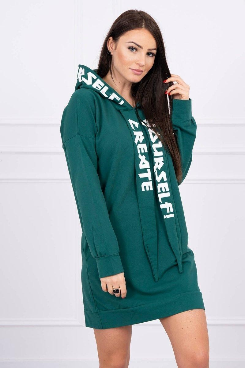 Oversize šaty pre dámy s kapucňou 0042 - zelené - Uni