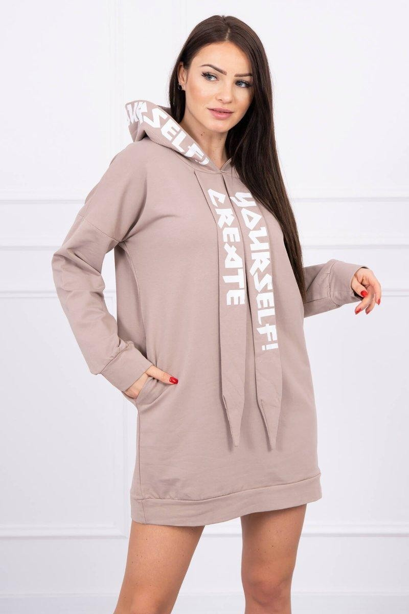 Oversize šaty pre dámy s kapucňou 0042 - kapučínové - Uni