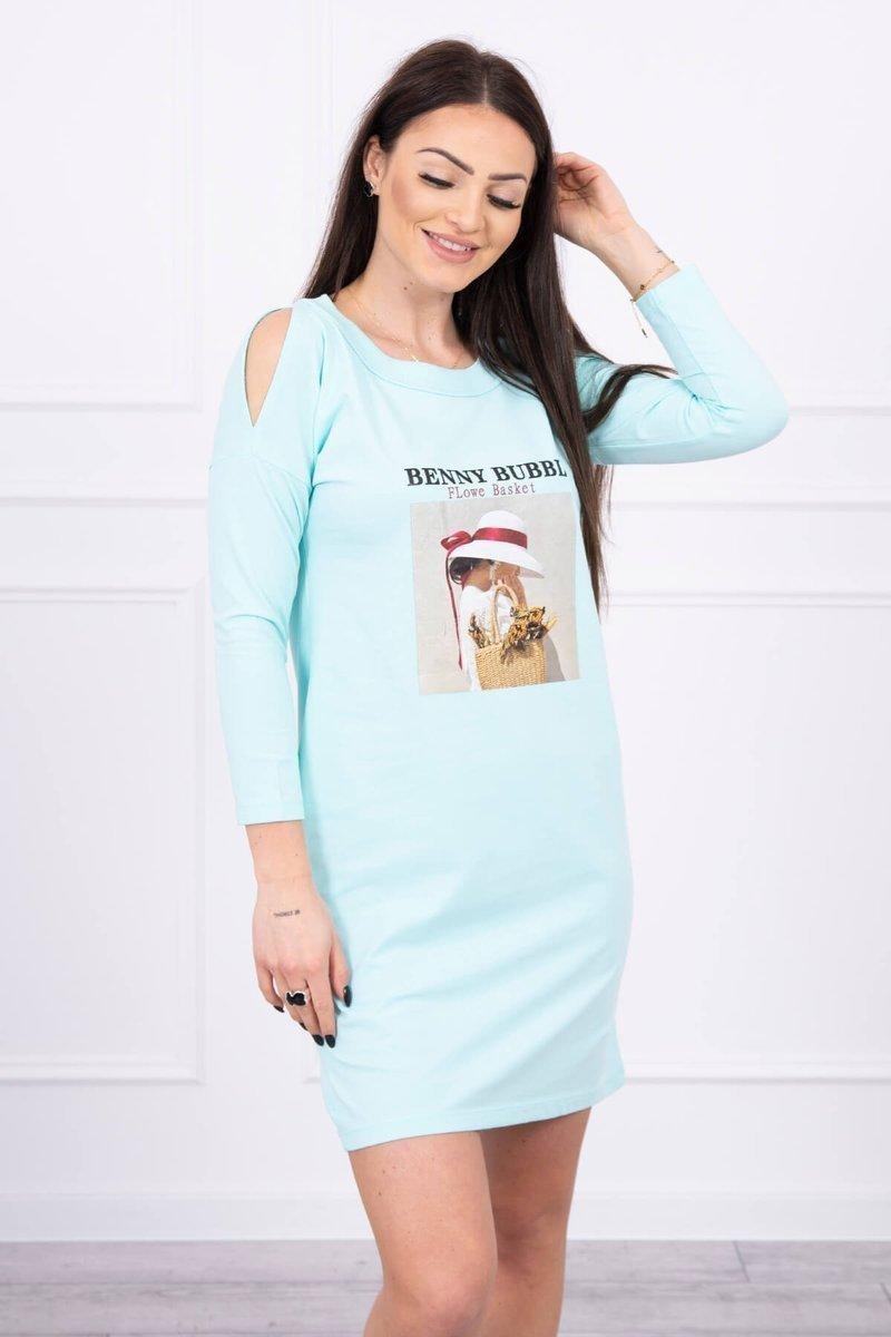 Dámske šaty s potlačou 66858 - mätové - Uni