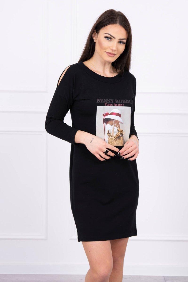 Dámske šaty s potlačou 66858 - čierne - Uni