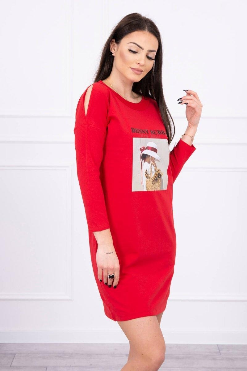 Dámske šaty s potlačou 66858 - červené - Uni