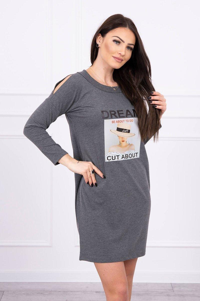 Dámske šaty s potlačou 66860 - grafitové - Uni