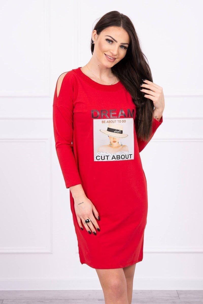 Dámske šaty s potlačou 66860 - červené - Uni