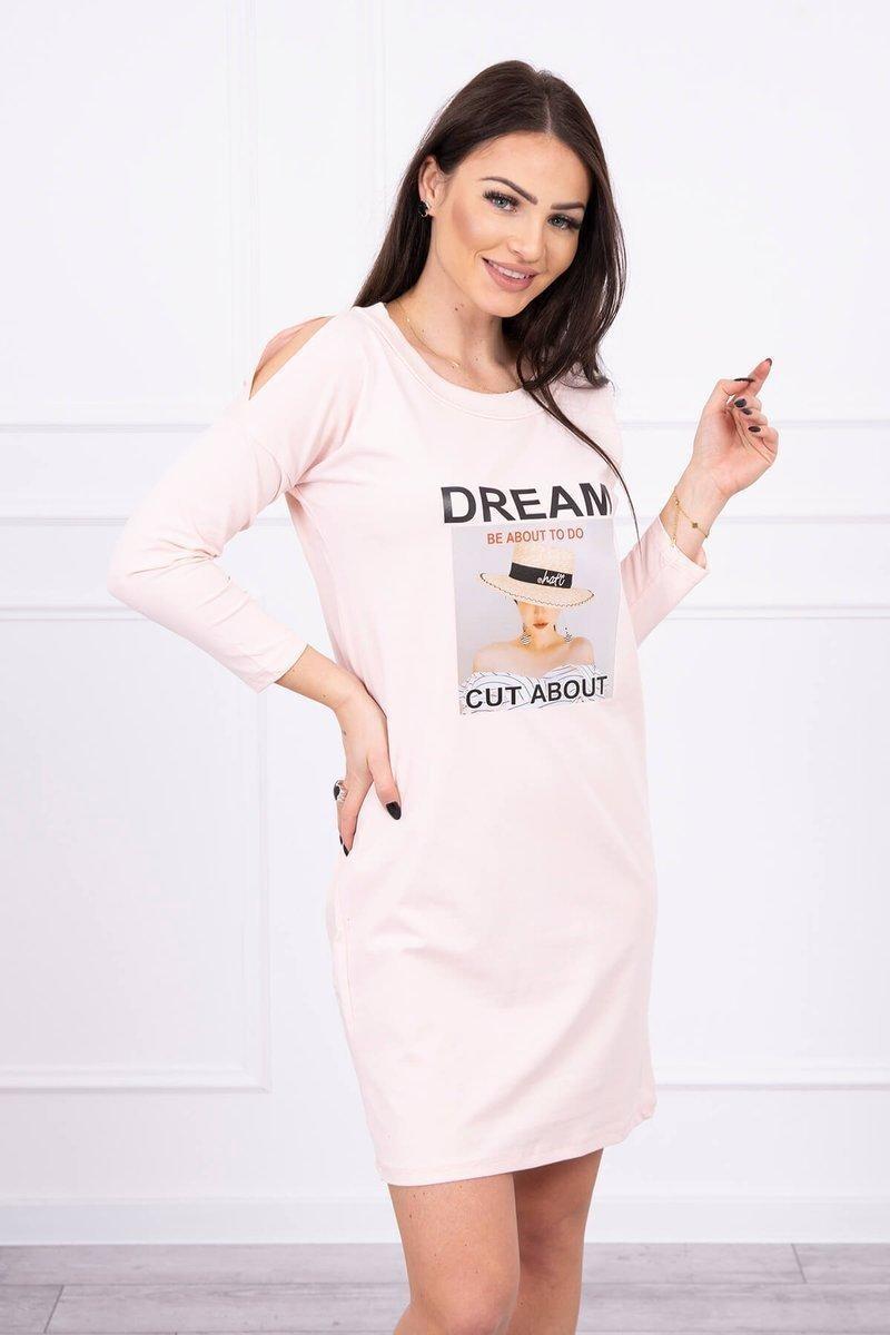 Dámske šaty s potlačou 66860 - púdrovo ružové - Uni