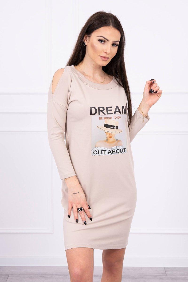 Dámske šaty s potlačou 66860 - béžové - Uni