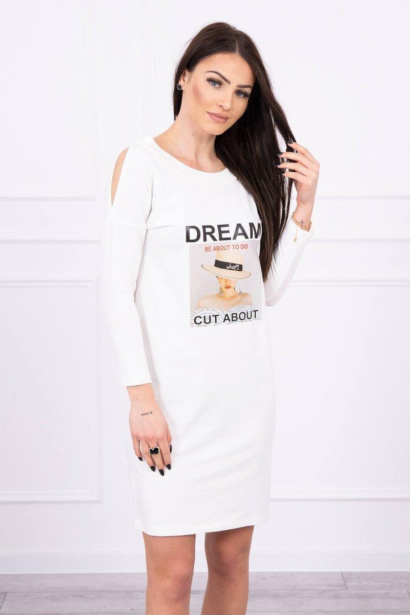 Dámske šaty s potlačou 66860 - ecru - Uni