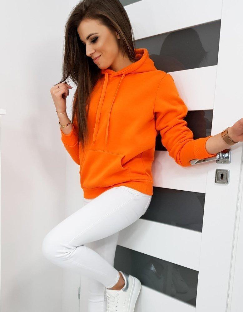 Dámska mikina BASIC s kapucňou BY0281 - oranžová - XXL