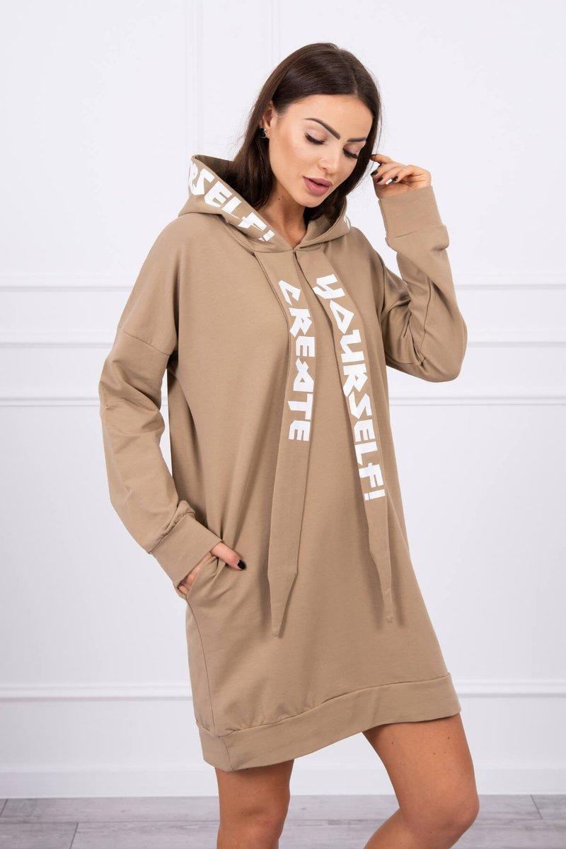 Oversize šaty pre dámy s kapucňou 0042 - kamelové - Uni
