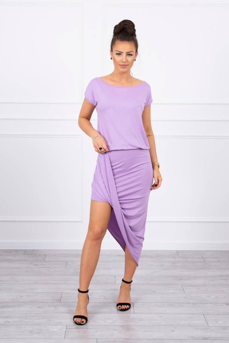 Asymetrické dámske šaty 61524 - fialové - Uni