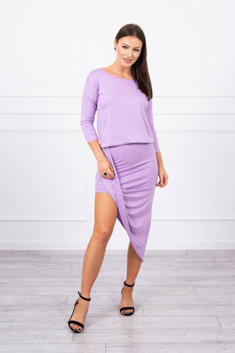 Asymetrické dámske šaty s 3/4 rukávom 8923 - fialové - Uni