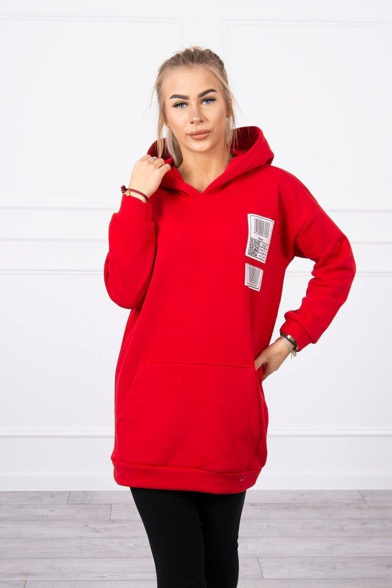 Mikina s kapucňou pre dámy 9147 - červená - Uni