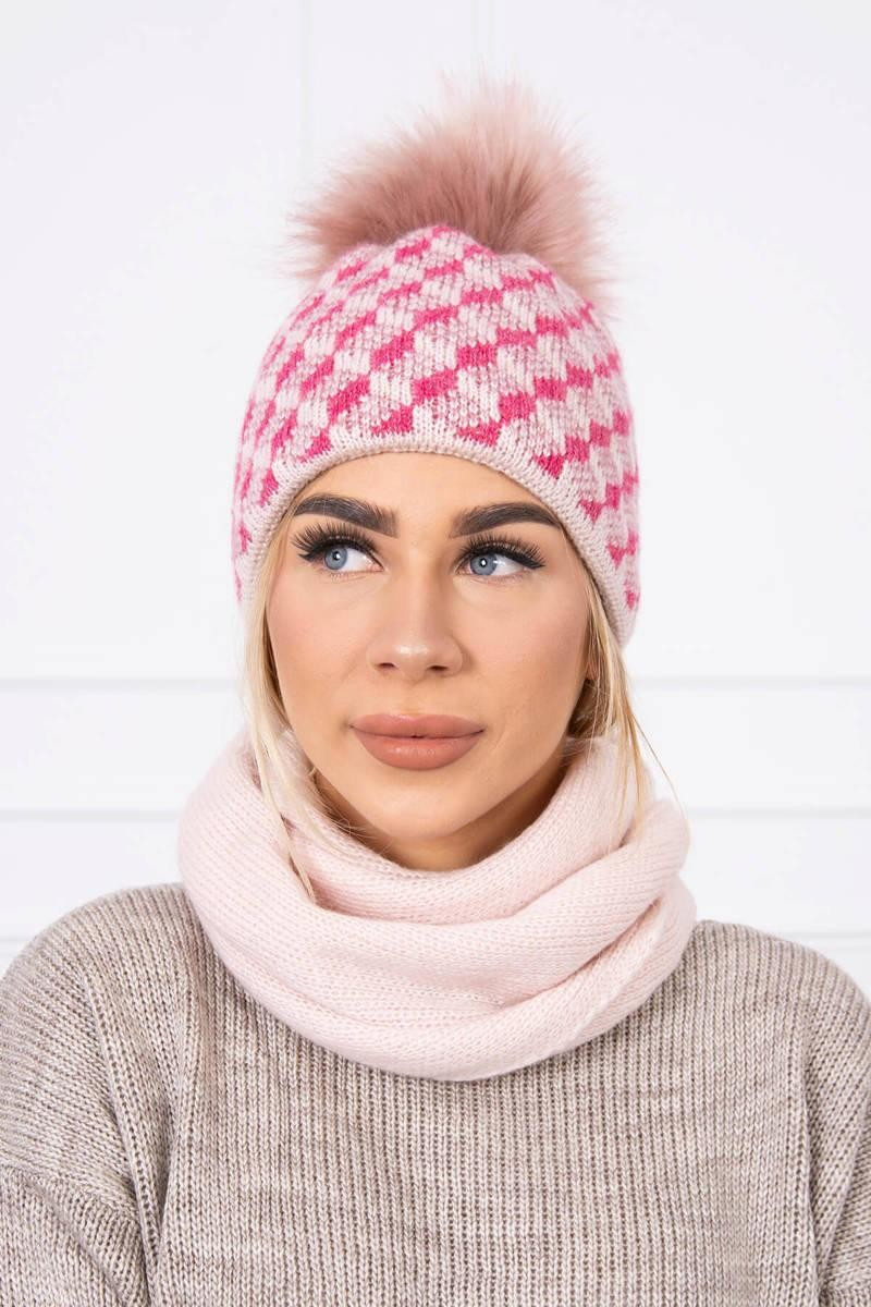 Súprava dámska čiapka a šál K155 - ružová - Uni