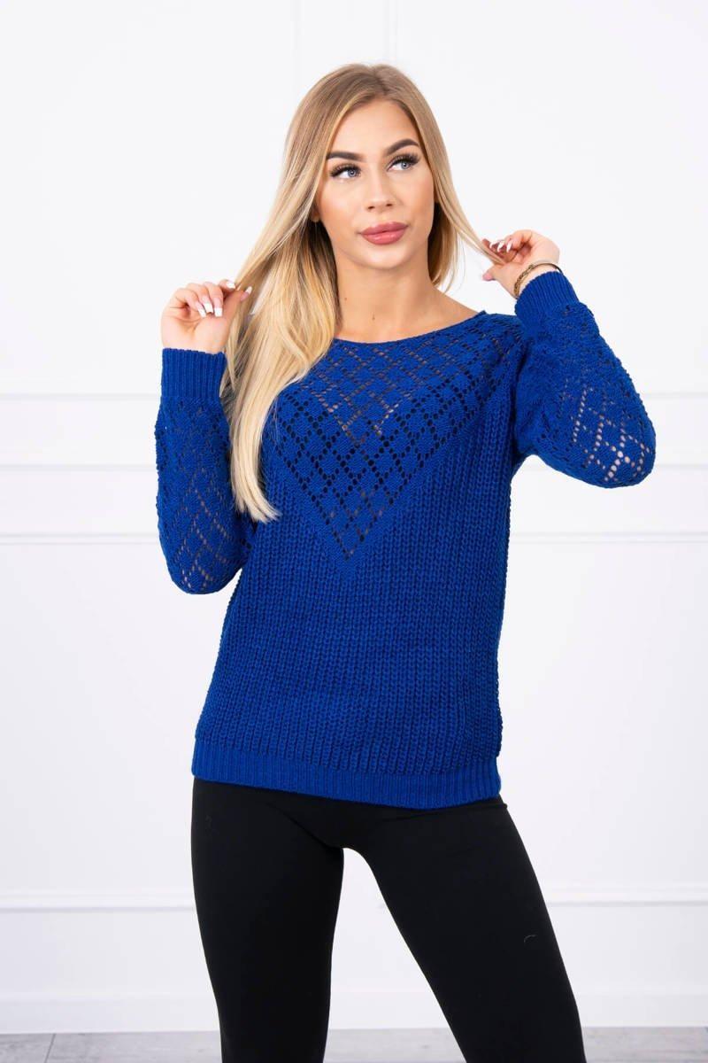 Dámsky sveter s ažúrovým vzorom 2019-39 - modrý - Uni