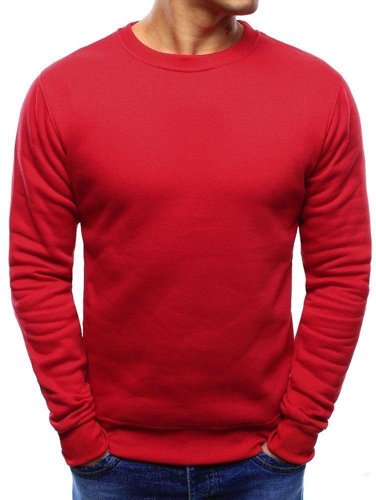 Pánska mikina bez kapucne (bx3867) - červená - L
