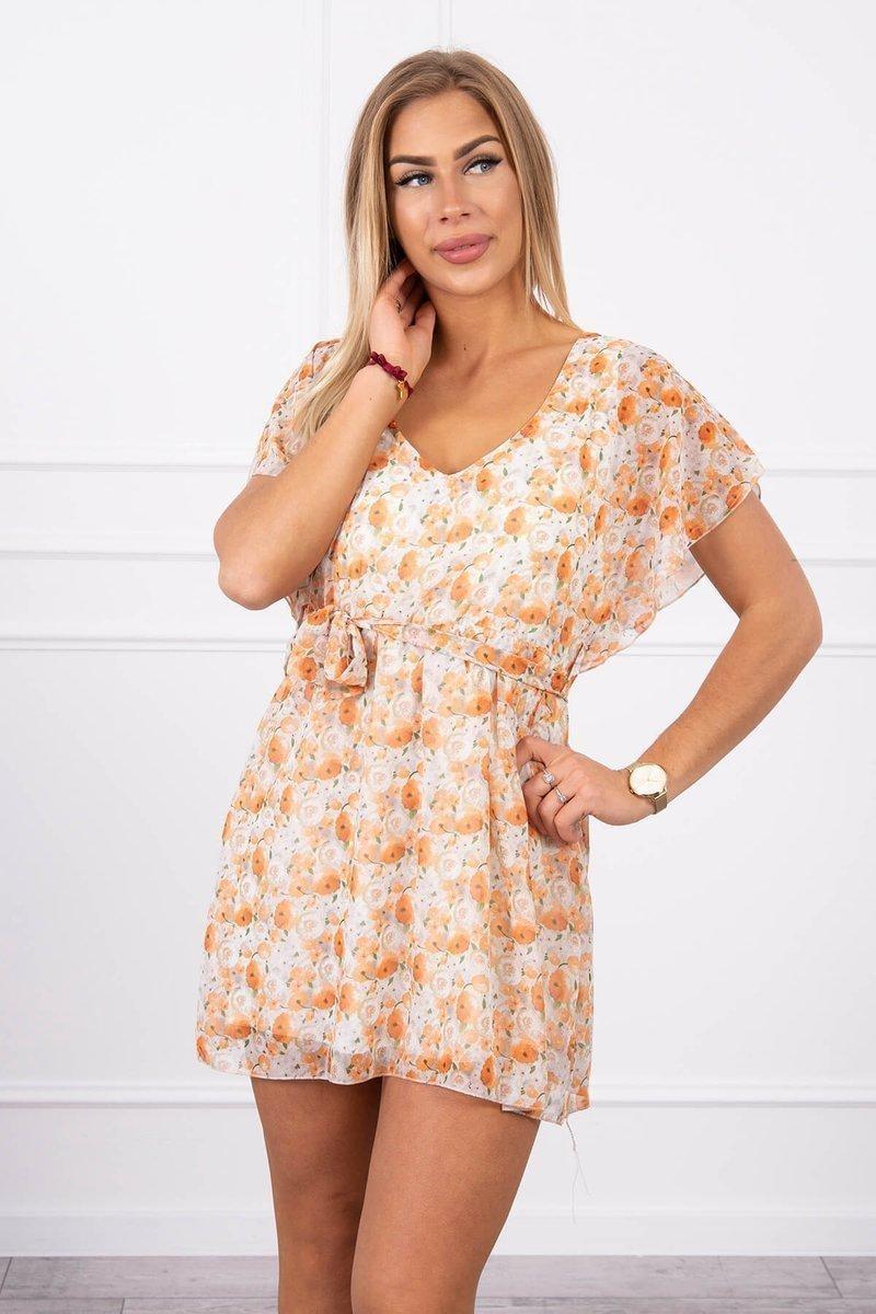Dámske kvietkované šaty 9287 - ecru - Uni