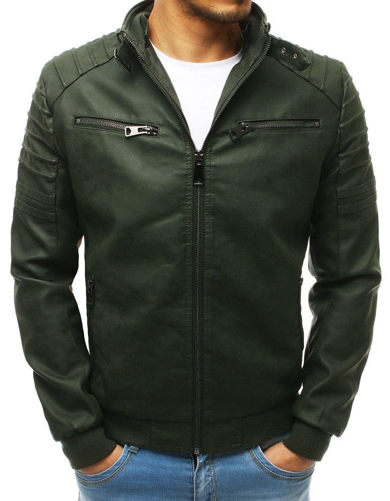Pánska kožená bunda (tx2654) - zelená, veľ. XL - XL