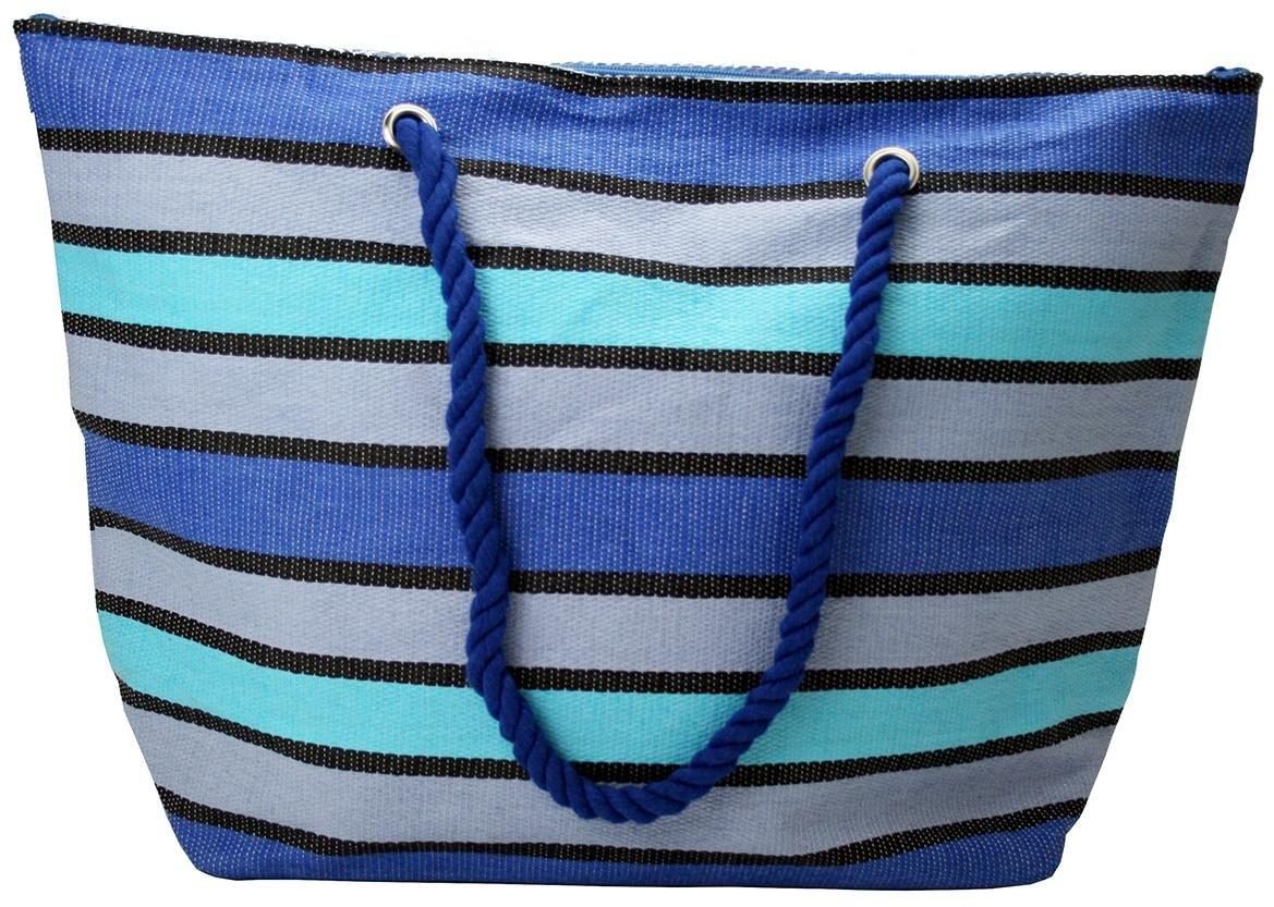 Plážová modrá pruhovaná slamenná taška