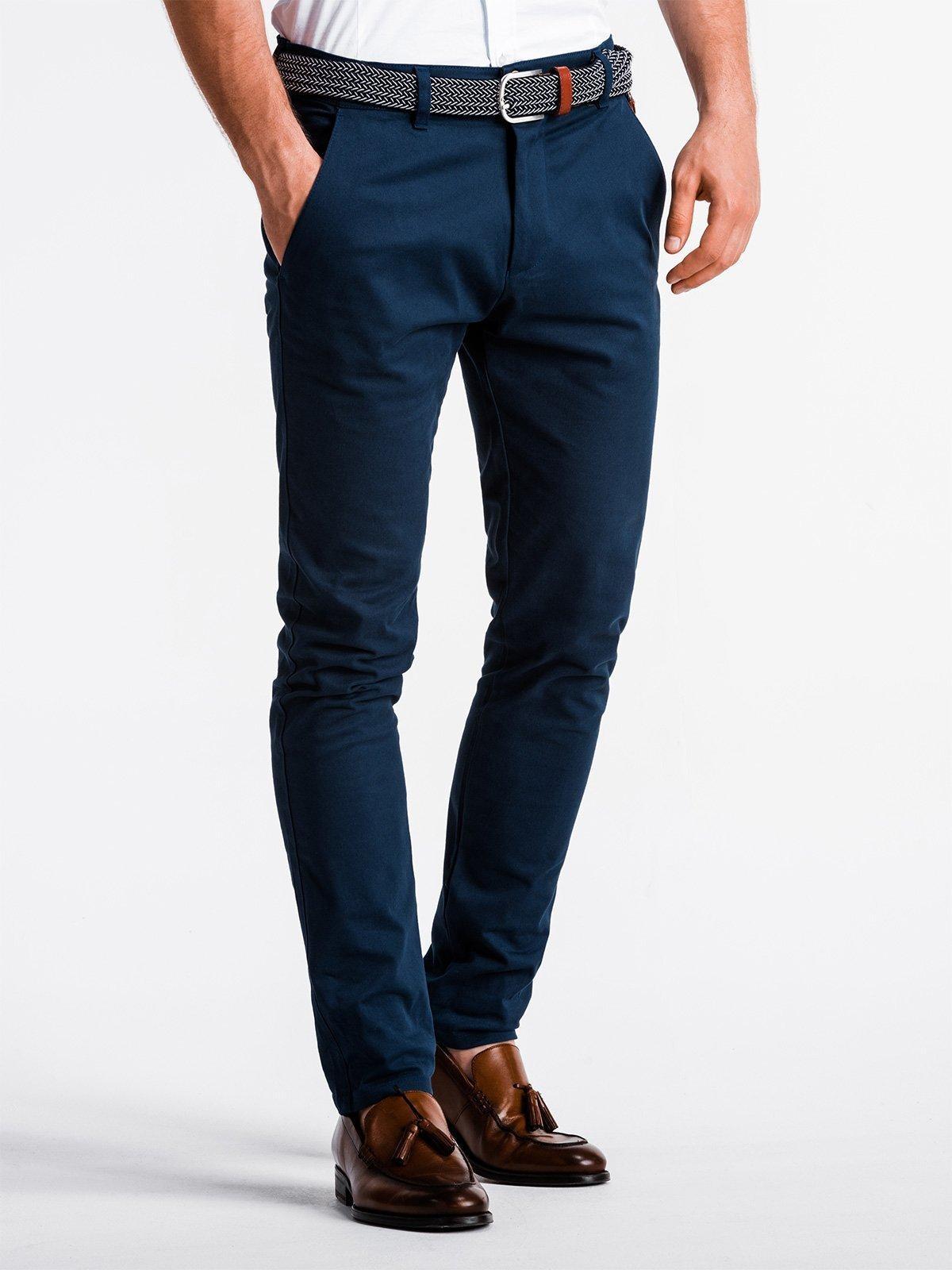Elegantné pánske chino nohavice P830 - nármonícka modrá, veľ. S - S