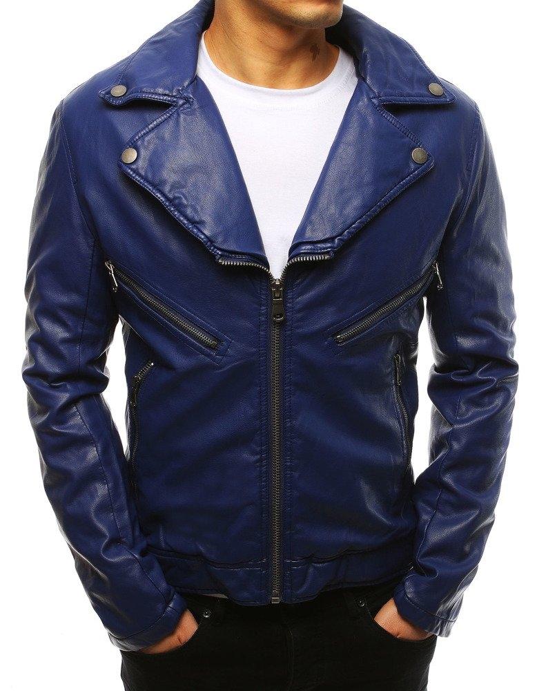 Modrá koženková pánska bunda (tx2621), veľ. L - L